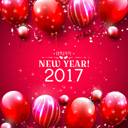 red balloons: Happy New Year 2017 - greeting card with red balloons on red background