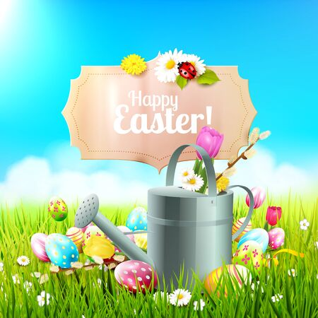 festive: Cute Easter background with flowers, Easter eggs, ladybug and watering can in the grass Illustration