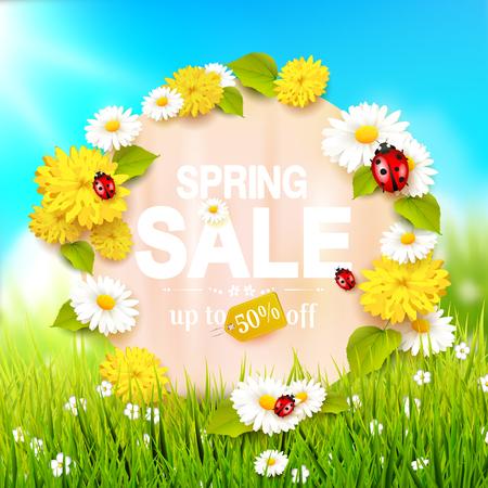Primavera venta folleto - prado soleado con flores y mariquitas en la hierba