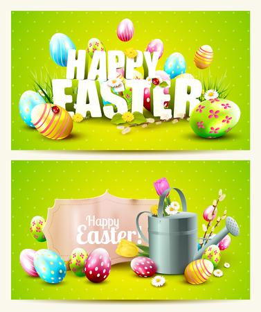 festive: Easter horizontal headers with paper label, Happy Easter text and decorations on green background
