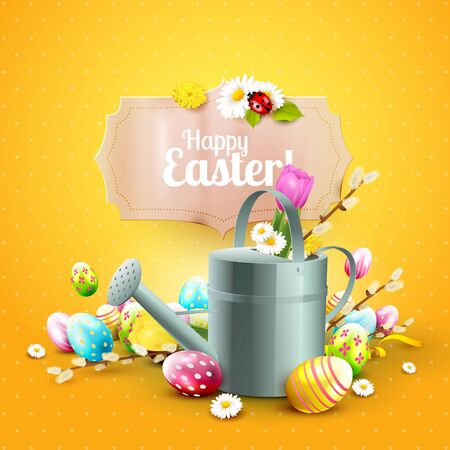 ladybird: Cute Easter template with flowers, Easter eggs, ladybug and watering can on blue background