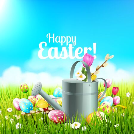 Cute Easter background with flowers, Easter eggs, ladybug and watering can in the grass Illustration