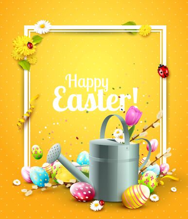 festive: Cute Easter template with flowers, Easter eggs, ladybug and watering can in the grass Illustration