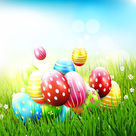 festive: Cute Easter background with Easter eggs in the grass