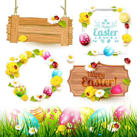 Easter collection of labels, signs and borders with Easter elements
