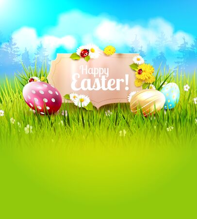 ladybird: Cute Easter background with colorful eggs and paper label in front of spring landscape Illustration
