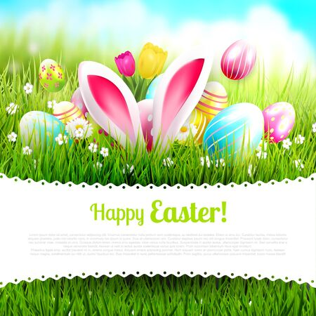 greeting season: Easter greeting card with colorful eggs in the grass and bunny ears Illustration