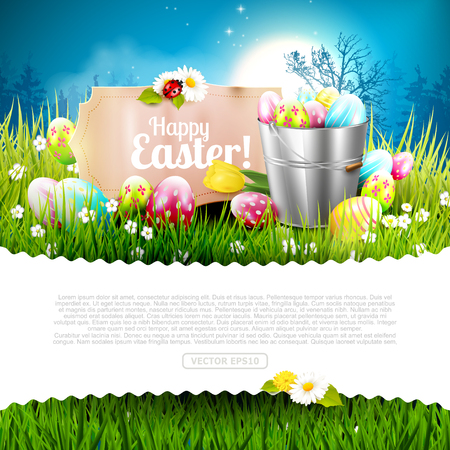 space for text: Easter greeting card - Easter decorations in the grass in front of night landscape. Empty space for your text Illustration