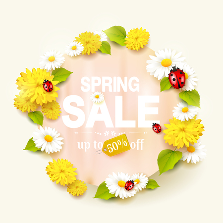 Spring sale flyer with flowers and ladybugs on green background