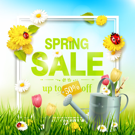 Spring sale flyer - sunny meadow with flowers, ladybugs and watering can in the grass Illustration