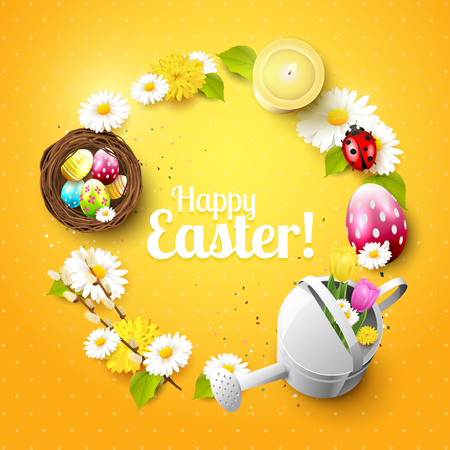Cute Easter background with flowers, Easter eggs, ladybug and watering can on orange background