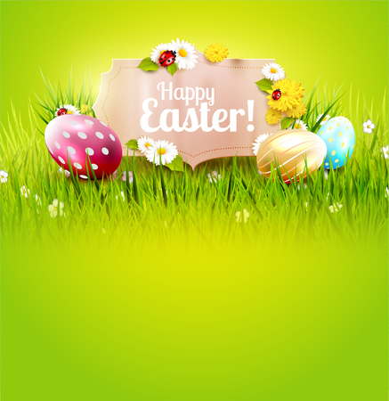 festive: Cute Easter background with colorful eggs and paper label on green background