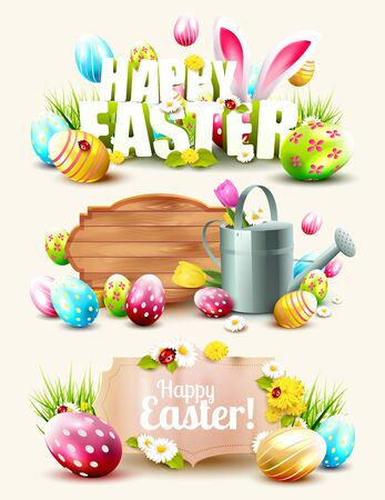 Set of Easter headers and banners with wooden and paper signs and Easter elements Illustration