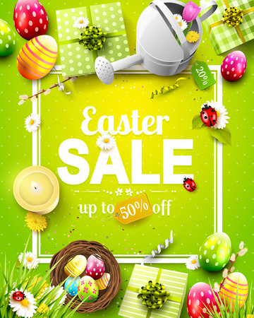 Easter sale flyer with flowers, Easter eggs and watering can on green background