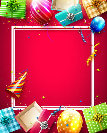 Birthday balloons, gifts and confetti on red background - Luxury birthday template Illustration