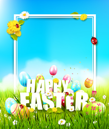 copyspace: Cute Easter template with colorful eggs in the grass and Happy Easter text Illustration