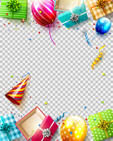 copyspace: Birthday balloons, gifts and confetti on transparent background - Luxury birthday template