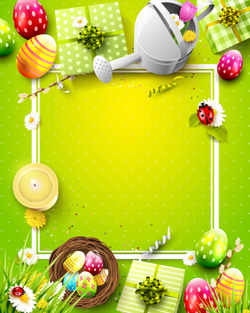copyspace: Beautiful concept of template with flowers, Easter eggs, ladybugs and watering can on green background