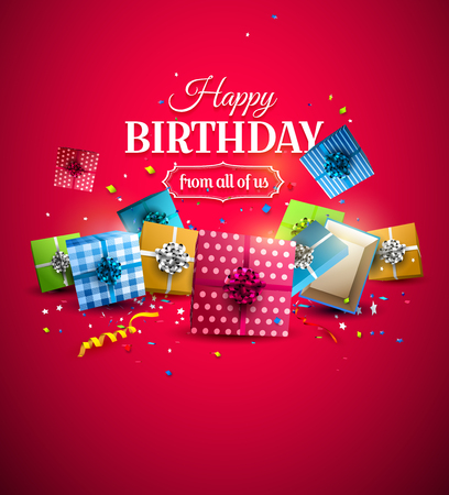 festive: Colorful birthday gift boxes and confetti on red background. Birthday template Illustration