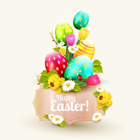 greeting season: Easter greeting card with flowers, Easter eggs and paper label Illustration