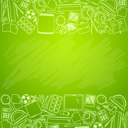 Hand drawn school accessories on green chalkboard - School template with place for your text Illustration