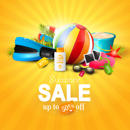 palm: Summer sale concept - beach accessories and Summer sale inscription Illustration