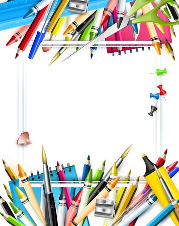 School accessories on white background - School template with place for your text