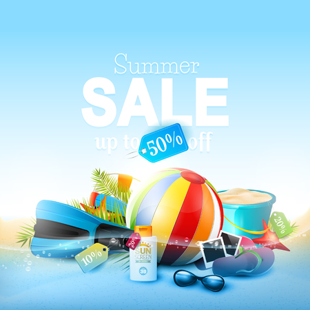 drops of water: Summer sale concept - beach accessories and Summer sale inscription Illustration