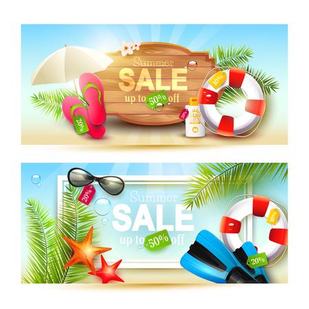 voyage: Ensemble vectoriel de deux en-têtes ou bannières de vente d'été avec accessoires d'été Illustration