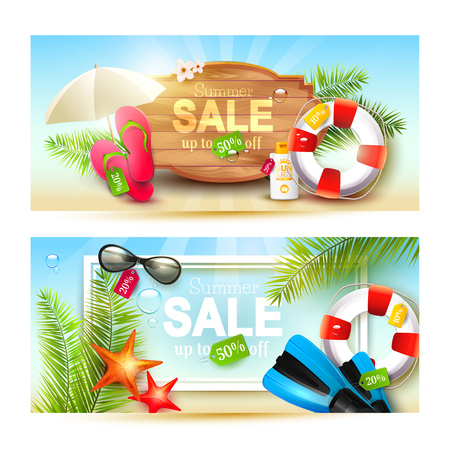 drops of water: Vector set of two summer sale headers or banners with summer accessories