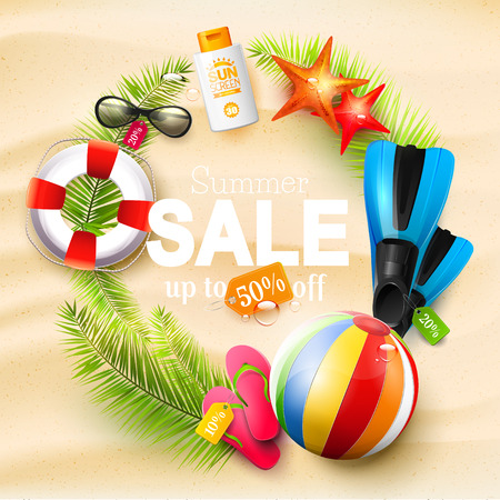 Summer sale design template with summer accessories on the sand