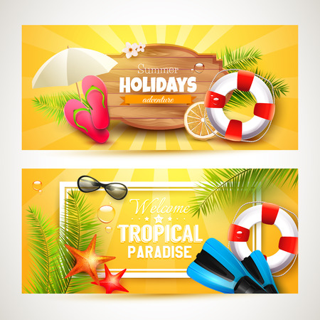 water: Vector set of two Summer headers or banners with summer accessories on orange background Illustration