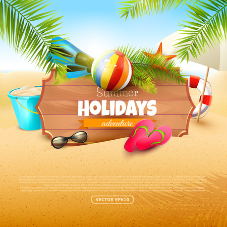 Summer time background with summer accessories and place for your message 向量圖像