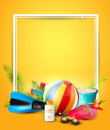 empty: Summer time background with summer accessories and place for your message Illustration