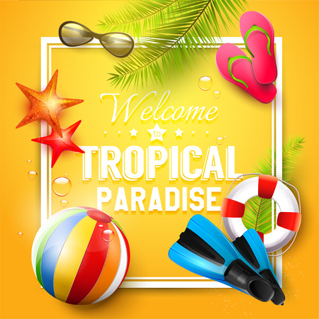 tropical: Summer time background with summer accessories and Welcome to tropical paradies inscription