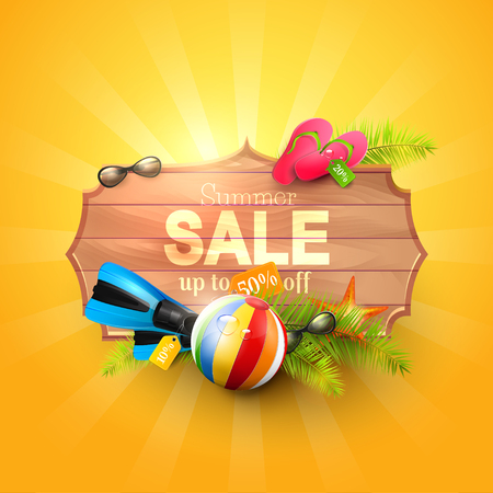Summer sale design template with summer accessories on orange background