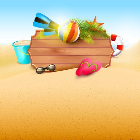 water: Summer time background with summer accessories and place for your message Illustration