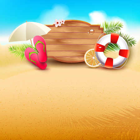 blue green background: Summer time background with summer accessories and place for your message Illustration