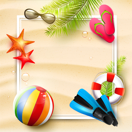 tropical: Summer time background with summer accessories and place for your message Illustration