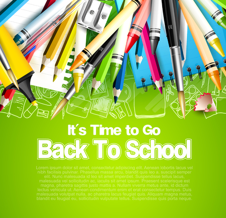 Back to school template with school accessories on green background and palce for your text Ilustrace