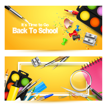Back to school headers with school accessories on orange background