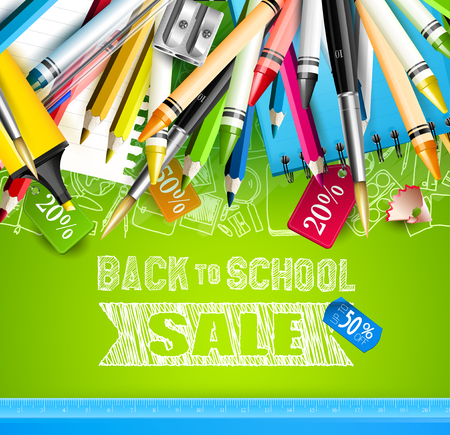 Back to school sale flyer with school accessories on green background and price tags Illustration