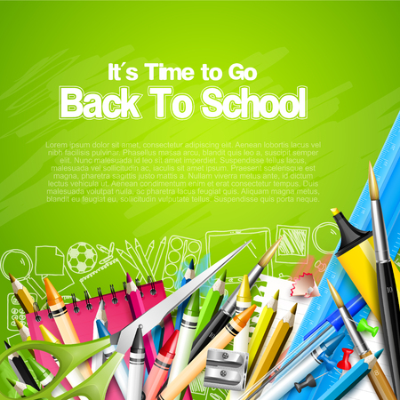 Back to school template with school accessories on green background and place for your text