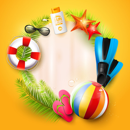 palm: Summer time background with summer accessories and place for your message Illustration