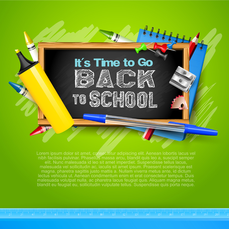 Back to School template with school accessories
