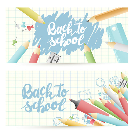 Back to school headers with colorful pencils and Back to school lettering on paper background