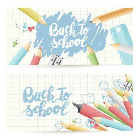 """Terug naar school headers met kleurrijke potloden en """"terug naar school"""" letters op papier achtergrond Stock Illustratie"""