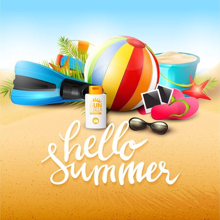 Summer time poster with beach accessories, palm leaves and calligraphic lettering