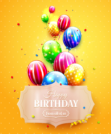 ribbon: Birthday template with colorful balloons on orange background