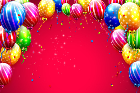 Birthday template with colorful balloons on red background